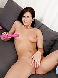 Delightful d cup student demonstrates double dildo dive