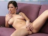 Buxom brunette vixen nudes and glass dildos snatch on couch