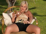 Heavenly blonde spreads wide and fingers pink pussy outside