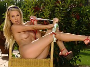 Captivating blonde strips and dildos pink quim backyard