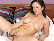 Buxom brunette strips fingers and dildos hot trimmed pussy i