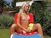 Sultry blonde sunbather nudes and dildos tight pink snatch