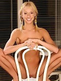 Blonde teen cutie strips and spreads bald quim on chair