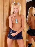 Charming blonde teen works ben wa balls into her pink twat