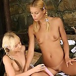 Bodacious blonde cuties dildo and lap tight quims outdoors