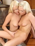 Angelic blondes nude and dildo bald pussies in the kitchen