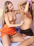 Heavenly blondes lick and rub twats in bedroom sixtyniner
