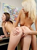 Fresh blonde and brunette undress finger and lick bald twats