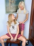 Angelic blondes undress finger and dildo pussies at school