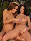 Teen vixens oil up their hot bodies and finger by the pool