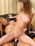 Fair haired hotties nude and strapon fuck pussies indoors