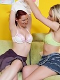 Tender redhead and blonde undress and lick sweet pink twats