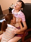 Luscious schoolgirls strip rub and tongue tender pussies