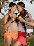 Pigtailed picnickers undress kiss and plug tight buttholes