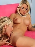 Exquisite blondes lick and finger pink pussies on couch