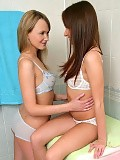 Blonde and brunette sirens strip finger and lick tasty twats