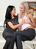 Adorable blonde and brunette strip and dildo tight quims