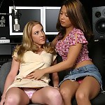 Innocent teens strip rub and lick sweet pussies in studio