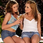 Sultry teen hotties toast strip and dildo twats on patio
