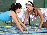 Tempting lesbian tennis players nude and make love on court