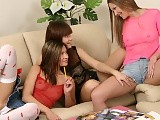 Three adorable teens lick and dildo pussies in indoor orgy