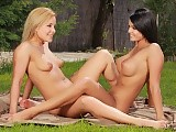 Captivating vixens lick and trib shaved pussies in garden