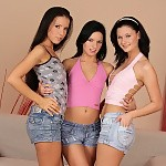 Three bewitching teens nude and dildo snatches in hot orgy