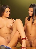 Ravishing teen vixens strip naked and lustily lick butts