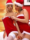 Stunning blondes in Christmas outfits lick and finger quims