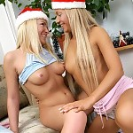 Blonde cuties in Santa hats nude and finger sweet pussies