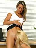 Luscious ladies undress and use vibrators in the office