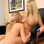 Heavenly blondes undress rub tongue and dildo sweet pussies