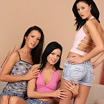 Sultry brunettes undress tongue and dildo quims and asses