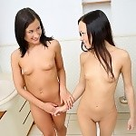 Cute teens undress lick and finger tight butts in bathroom