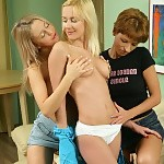 Three tempting teens nude and dildo wet pussies on couch