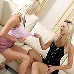 Amazing blonde sirens lick and finger pink pussies on couch