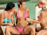 Three sultry teens nude and dildo juicy pussies poolside