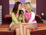 Sultry blonde and brunette strip lick and dildo tender twats