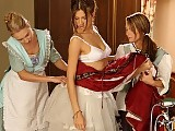 Two tempting chambermaids undress and lick brunette siren