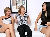 Three sweet teens undress lick and rub pink twats on couch