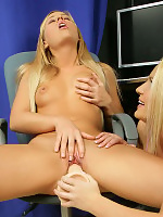 Luscious teens undress and fuck a massive dildo in office