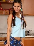 Brunette cutie in braids nudes and dildos pussy in kitchen