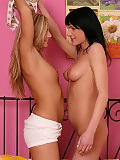 Beautiful teens undress kiss and make sweet love in bed