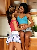 Sizzling honeys kiss and dildo slick wet quims in kitchen