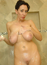 Alia Janine  Sexy mature lady takes her time to cleanse her curvaceous cougar body in the shower