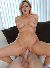 Becca Blossoms  Anilos hottie has her tight pink pussy rammed on the bed and rides the guy like a cowgirl