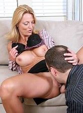 Brenda James  Sexy blonde milf sucks a mean cock before sliding it in her nectar filled snatch