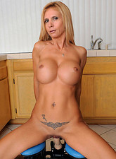 Brooke Tyler  Fiesty milf Brooke Tyler gets hot and horny as she rides the monkey rocker