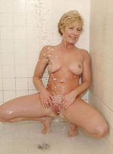 Chanel Carrera  Blonde Anilos Chanel shows off her cougar tits and gets soaking wet in her bathroom
