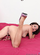Danielle Reage  Horny Anilos cougar in sheer pink lingerie bangs her mature fuck hole with her favorite sex toy